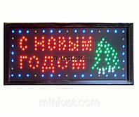 Вывеска светодиодная `С Новым годом`. 48x25 см
