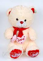 Мягкая игрушка  Медведь в шарфе( 2 сердца)
