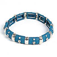 [5.5см] Браслет женский, объемный, синий, инкрустирован небольшими декоративными камнями круглой формы