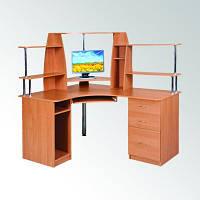 Угловой компьютерный стол СУ-11 в кабинет руководителя, эргономичный, с тумбой и полками