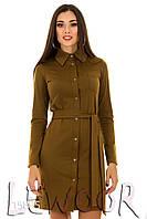 Скромное платье-рубашка на пуговицах