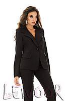 Строгий брючный костюм из крепа Черный, Размер 42 (S)
