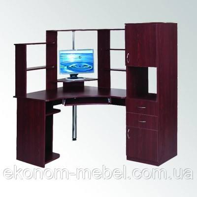 угловой компьютерный стол су 12 с пеналом и полками для моноблока
