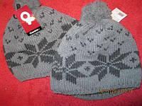Шапка теплая зимняя плотная вязка серая 58-60 размер молодежная с бубоном и снежинкой