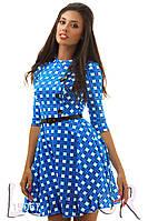 Милейшее платье из трикотажа с принтом «крестики»