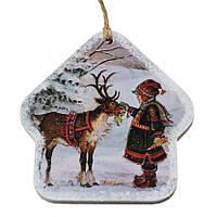 Деревянная игрушка-открытка на ёлку