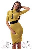 Строгое платье из вискозы с воротом под шею Оливковый, Размер 46 (L)