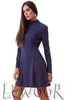 Утеплённое ангоровое платье с воротом стоечка Синий, Размер 48 (XL)