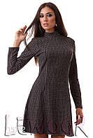 Утеплённое ангоровое платье с воротом стоечка Черный, Размер 42 (S)