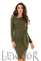Милое ангоровое платье с широким поясом