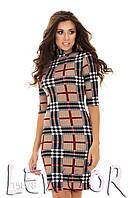 Платье в клетку из ткани мустанг