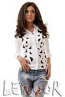 """Рубашка с весёлым принтом """"бабочки"""" Белый, Размер 46 (L)"""