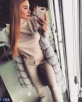 Стильный бежевый декорирован с камнями сваровски женский спортивный костюм ТМ DORATTI шерсть+акрил Арт-15092
