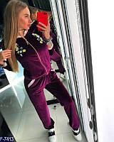 Стильный бордовый декорирован брендовым довязом и принтовым  из 3Dвыш.цвет  жен.спор.костюм велюрАрт-15093