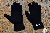 Молодежные черные перчатки стейси ,Stussy