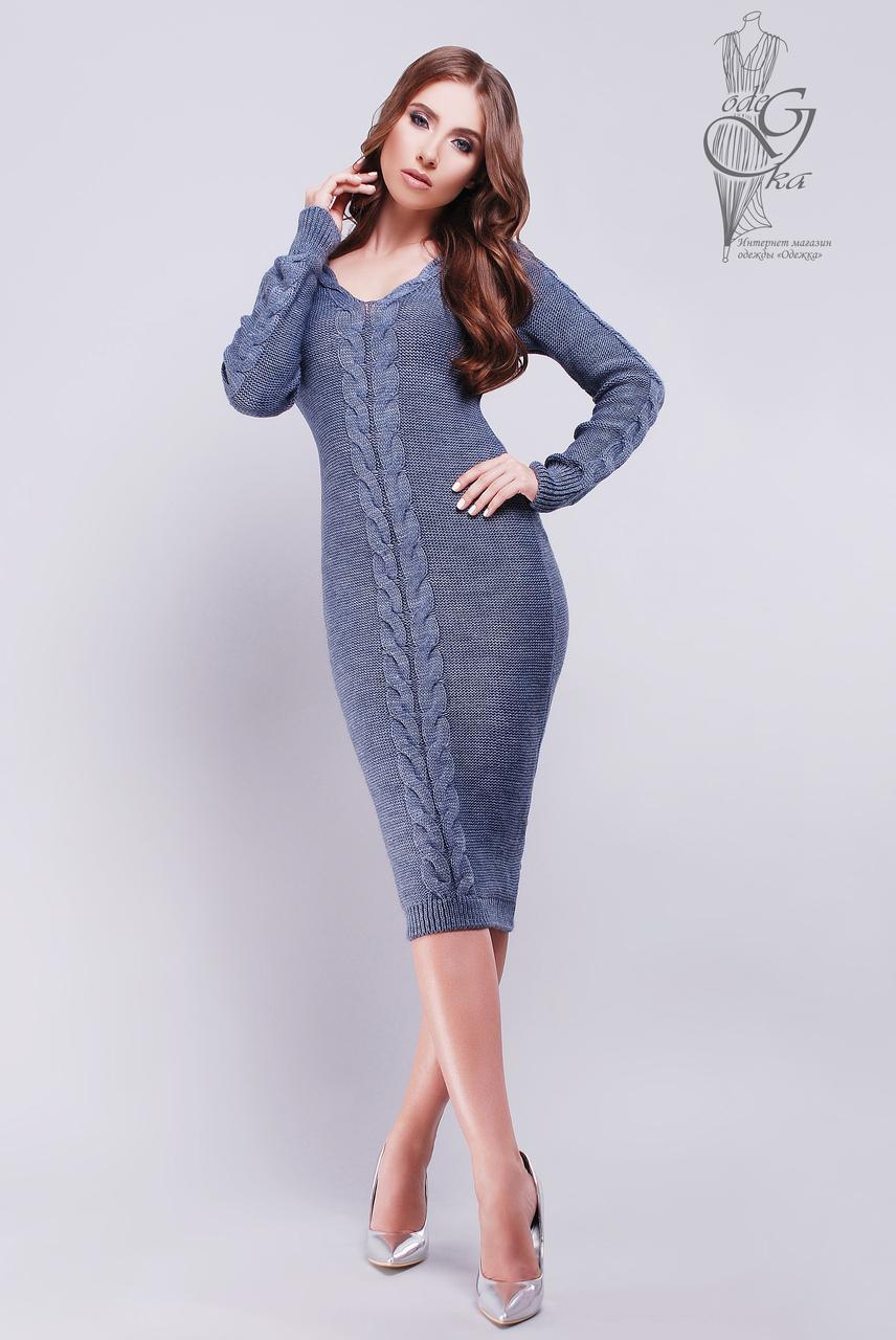 Женское облегающее платье приталенное вязаное Люся-5