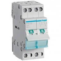 Переключатель Hager SFB232 I-0-II с общим выходом снизу, 2-пол., 32А/230В, 2м (ввод резервного питания)