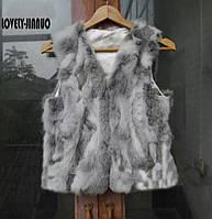 Женские меховые жилетки из меха кролика.