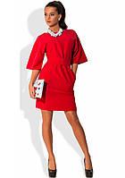 Деловое красное платье с карманами