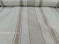 Льняная ткань в полоску для скатертей и полотенец (шир. 150 см)