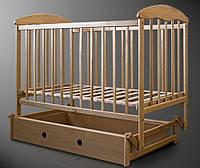 Детская кроватка из ольхи светлая (с маятником и ящиком) боковина НЕ ОПУСКАЕТСЯ