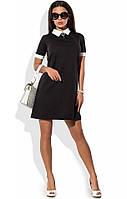 Деловое черное платье с белым воротником
