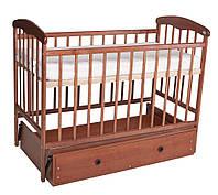Детская кроватка из ольхи тёмная (с маятником и ящиком)боковина НЕ ОПУСКАЕТСЯ