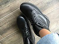 Ботинки из натурального черного флотара №402-6