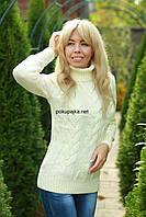 Свитер женский вязаный шерстяной  под горло MAYA цвет Белый