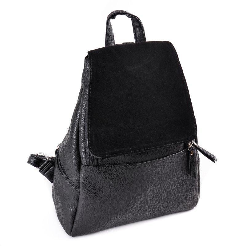 063f900f765d Черный женский замшевый рюкзак М104-47 замш городского молодежного типа,  фото 1