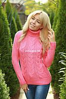 Свитер женский вязаный шерстяной  под горло MAYA цвет Розовый