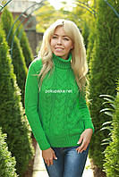 Свитер женский вязаный шерстяной  под горло MAYA цвет Зеленый