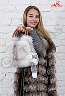 Кожаная сумка с мехом песца Белый