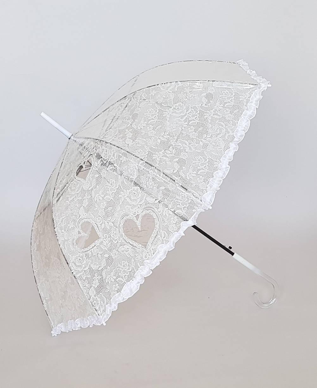 Зонт трость с имитацией гипюра белого цвета