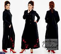 """Стильный  костюм двойка с кардиганом с вышивкой """"Сакура"""" батальных размеров цвет черный. Арт-14127"""