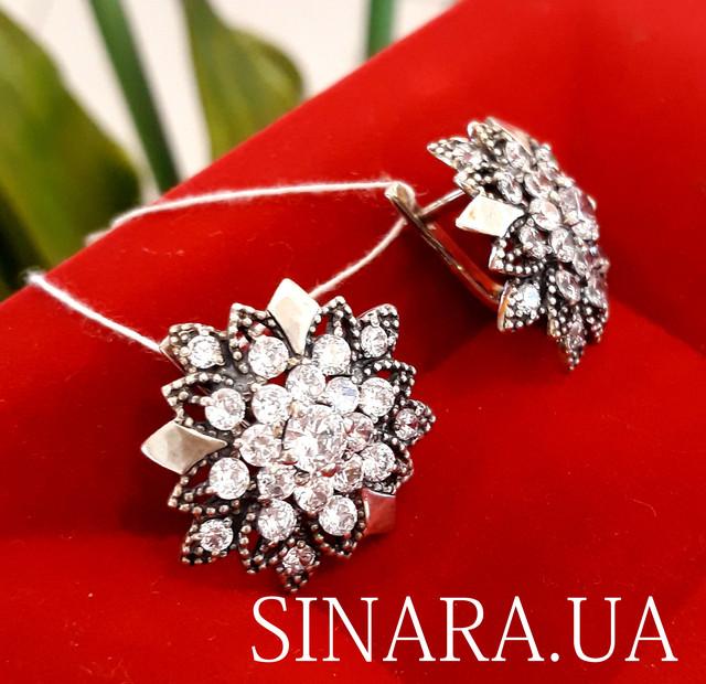 Серебряные серьги c камнями цветы Астры - Серьги серебро - Серьги с чернением серебро фото