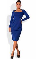 Приталенное синее платье с квадратным вырезом