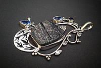 Массивный кулон серебряный с черным турмалином