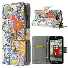"""Чехол книжка для LG L90 D405 """"Радужный букет"""" боковой с отсеком для визиток"""
