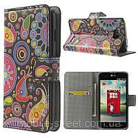 """Чехол книжка для LG L90 D405 """"Colorized Patterns"""" боковой с отсеком для визиток"""