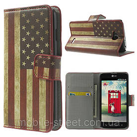 "Чехол книжка для LG L90 D405 ""Ретро флаг Америки"" боковой с отсеком для визиток"
