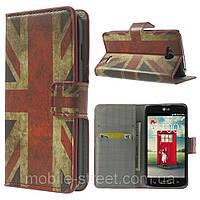 "Чехол книжка для LG L90 D405 ""Ретро флаг Британии"" боковой с отсеком для визиток"
