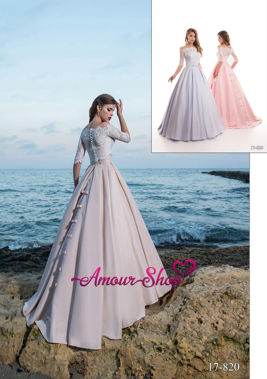 Длинное бальное вечернее платье  цвета капучино