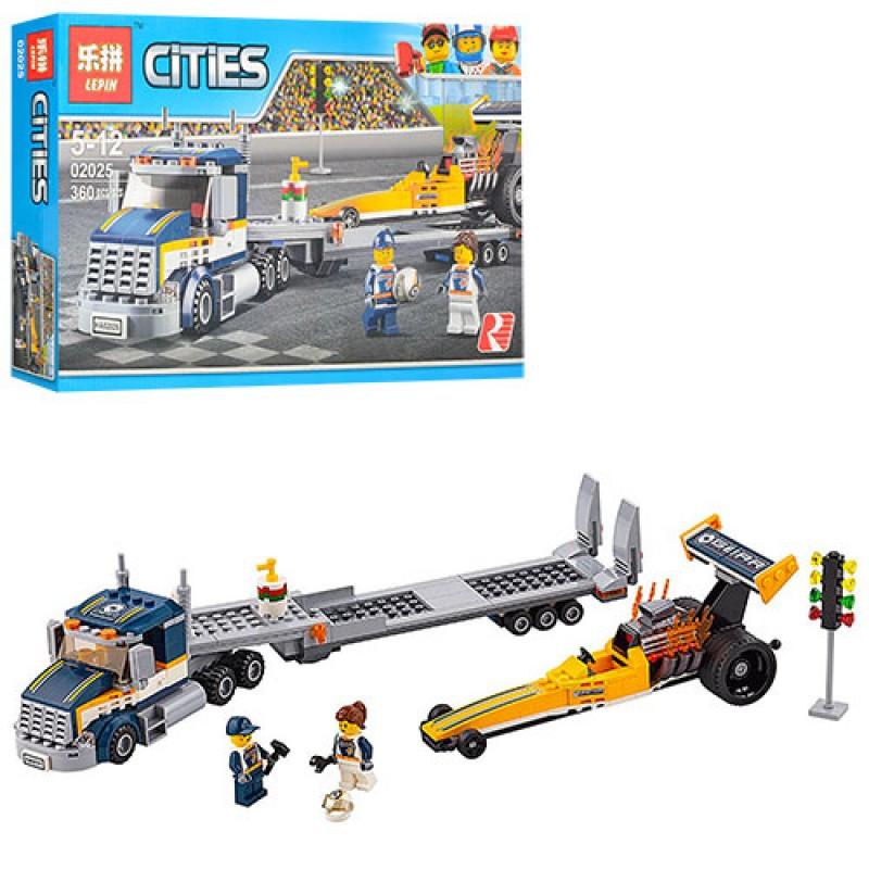 "Конструктор LEPIN CITIES 02025 (Аналог Lego City 60151) ""Грузовик для перевозки драгстера"""