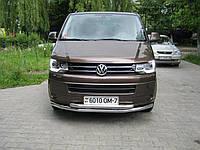 Защита переднего бампера (двойной ус) Volkswagen Transporter T5, фото 1