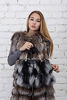 Кожаная сумка с мехом из чернобурки