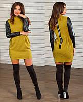 Платье с кожаными рукавами 23108, фото 1