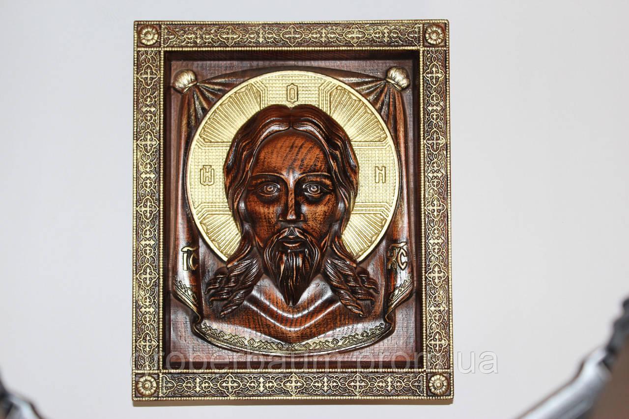 """Рельефная икона """"Спаситель"""" покрыта итальянским лаком, и патинированная золотом - RoyalStyle в Кременчуге"""