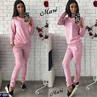 Стильный розовый женский спортивный костюм турецкая петельная двунитка  Арт-15109