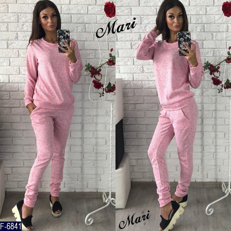 ae9bd480da2b Стильный розовый женский спортивный костюм турецкая петельная двунитка  Арт-15109